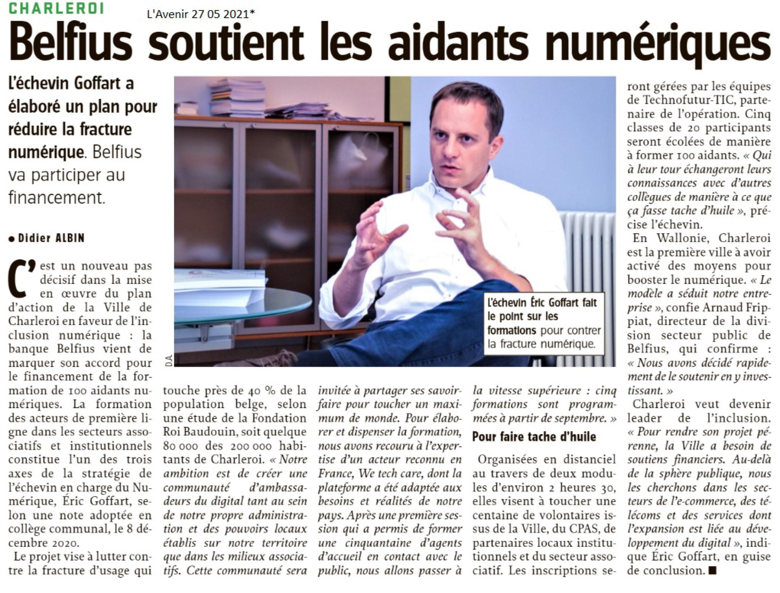 Eric Goffart - Belfius soutient les aidants numériques à Charleroi