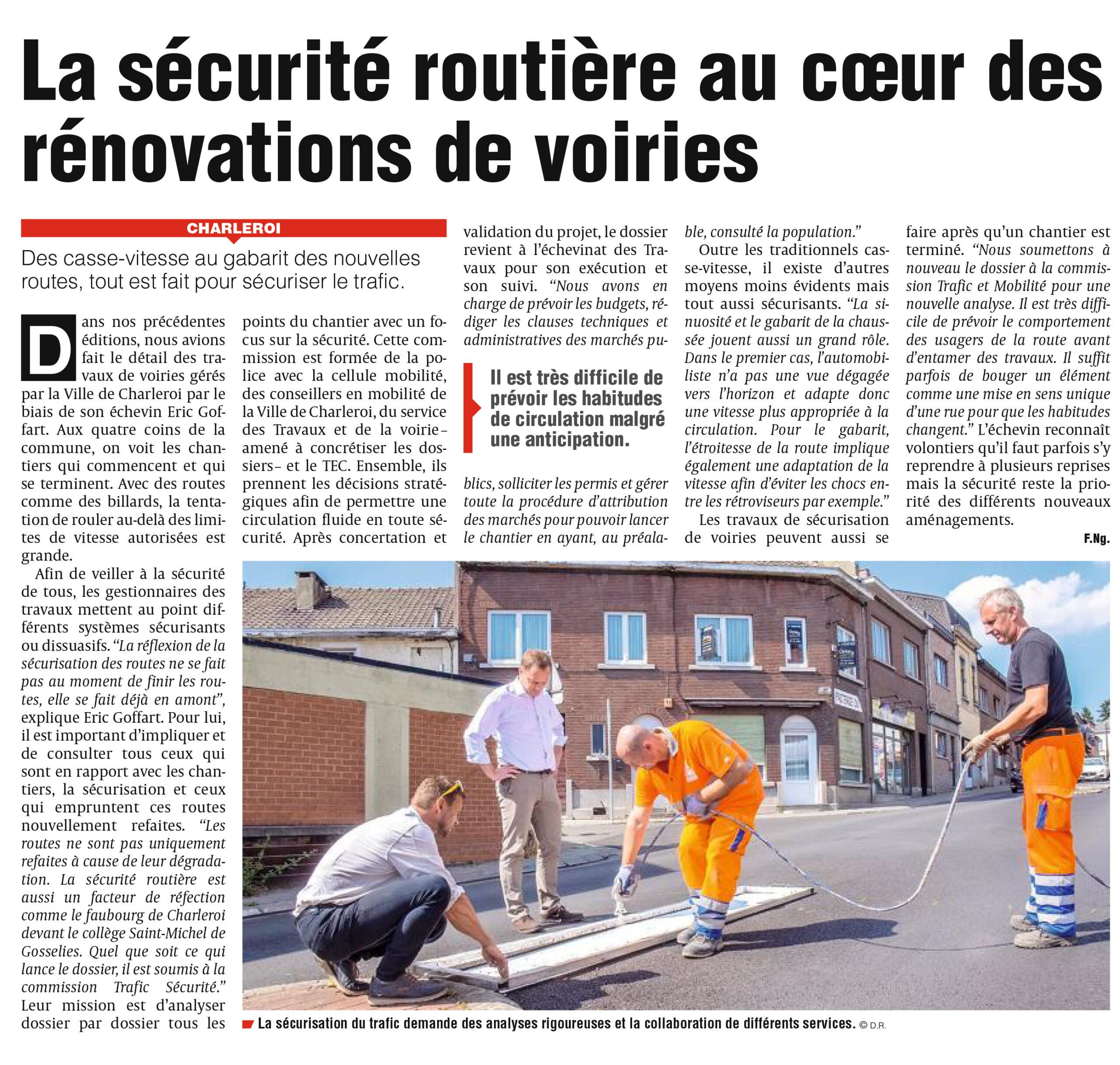 Eric Goffart - La sécurité routière au coeur des rénovations de voiries à Charleroi