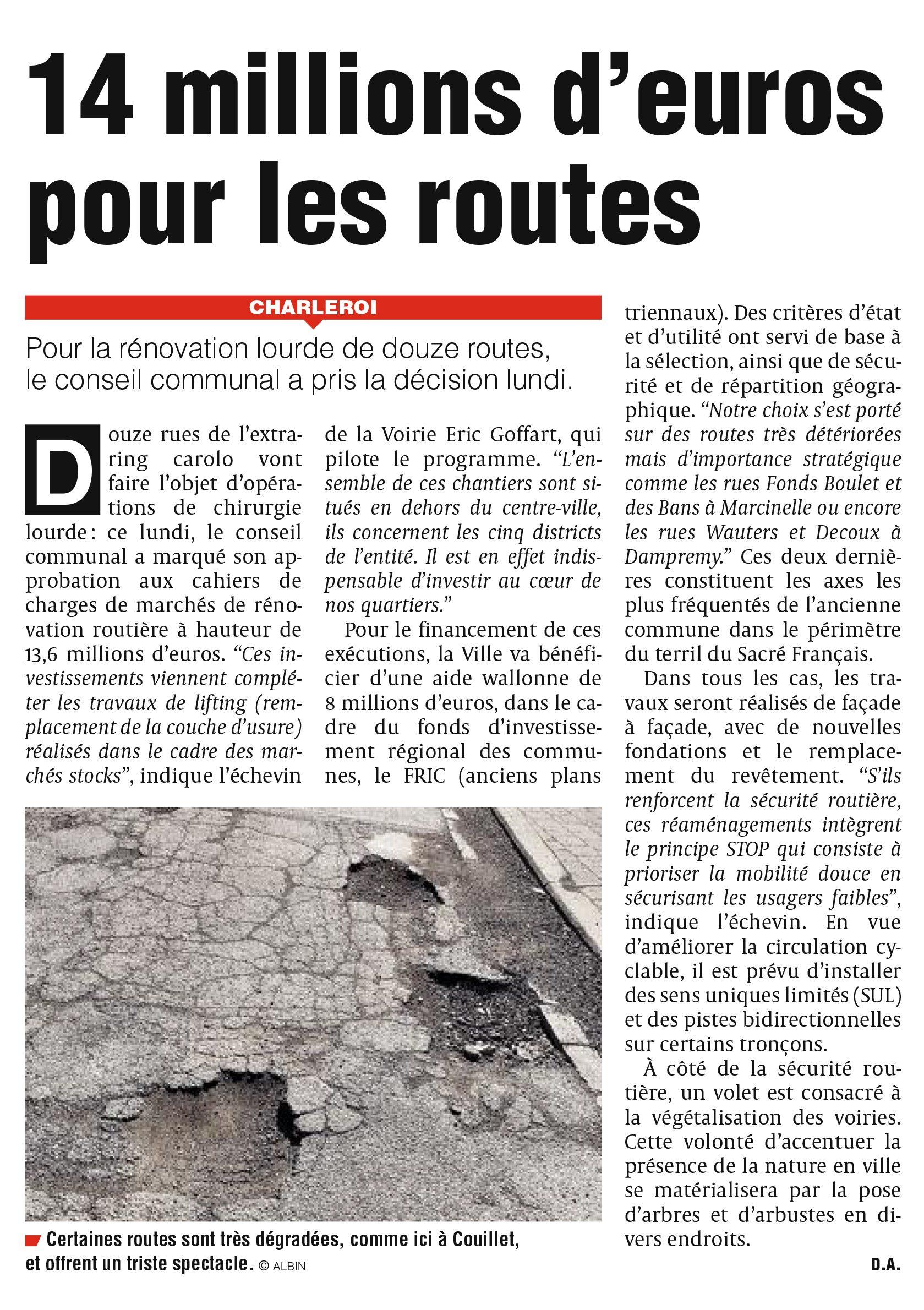 Eric Goffart - 14 millions d'euros pour les routes à Charleroi