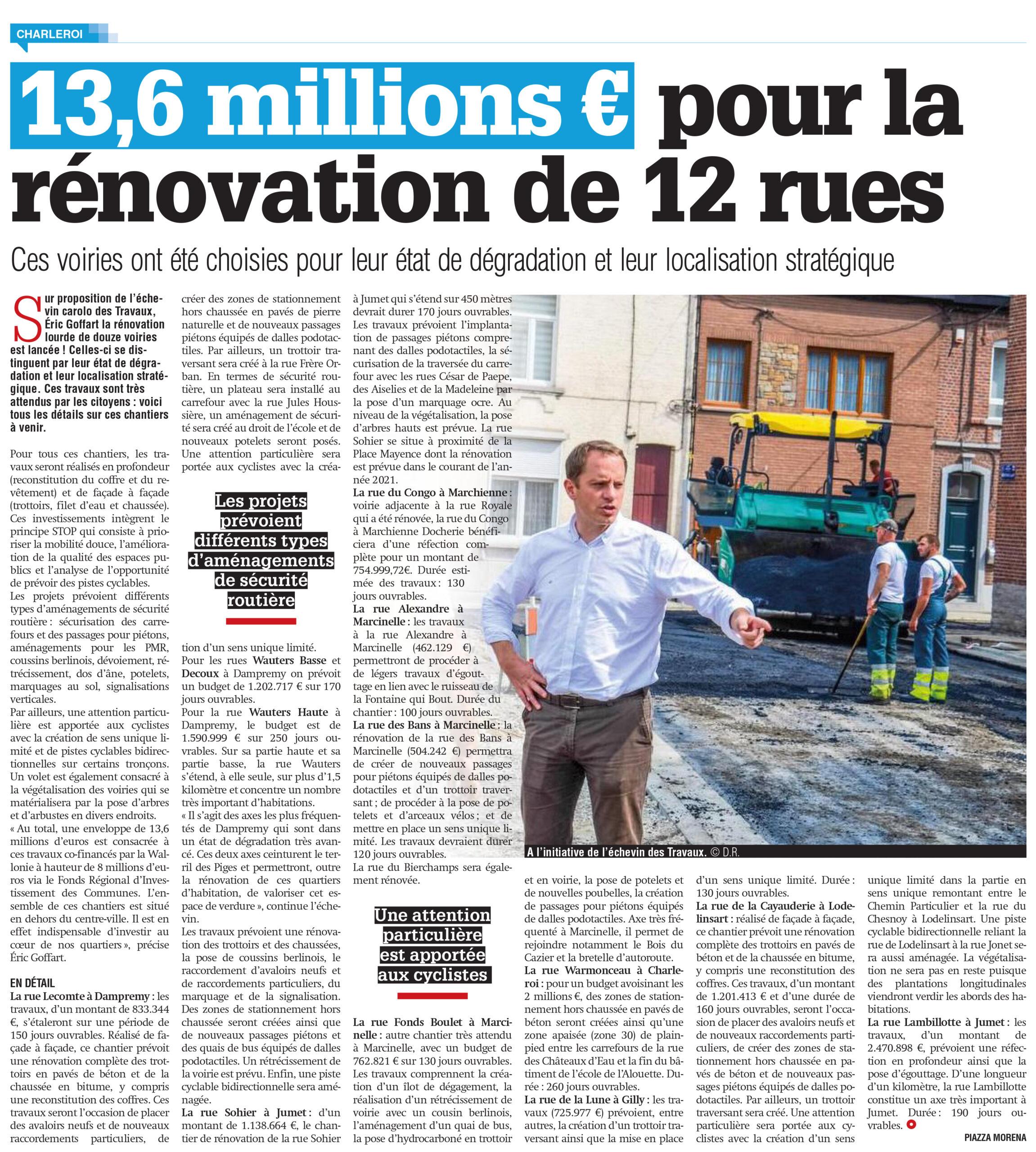 Eric Goffart - 13,6 millions d'euros pour la rénovation de 12 rues à Charleroi